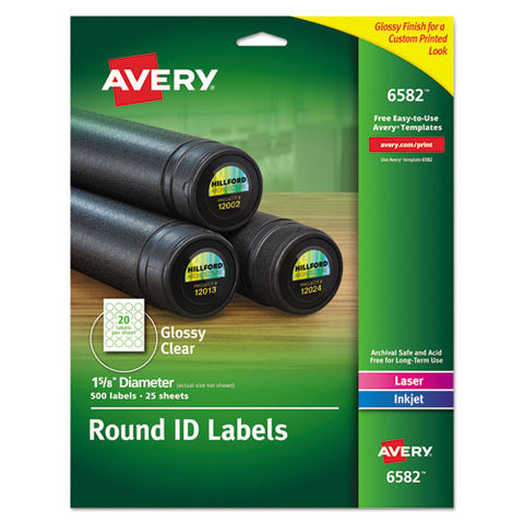 "Round Print-to-the Edge Labels With Surefeed And Easypeel, 1.67"" Dia, Glossy Clear, 500-pk"