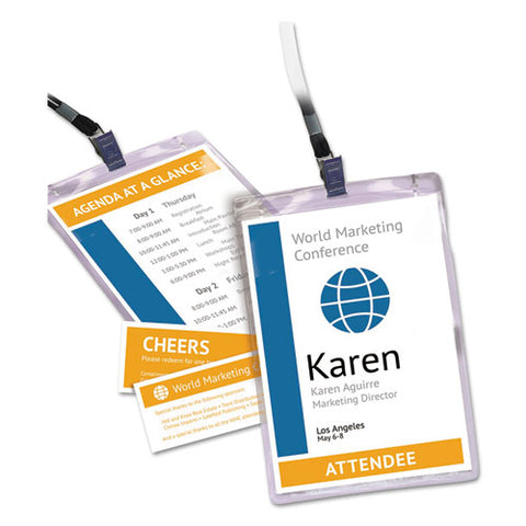 Lanyard-style Badge Holder W-laser-inkjet Inserts, Top Load, 4.25 X 6, We, 75-pk