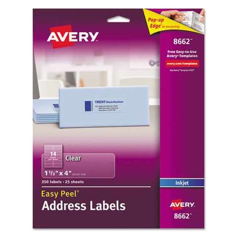 Matte Clear Easy Peel Mailing Labels W- Sure Feed Technology, Inkjet Printers, 1.33 X 4, Clear, 14-sheet, 25 Sheets-pack