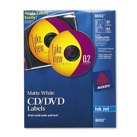 Inkjet Cd Labels, Matte White, 40-pack