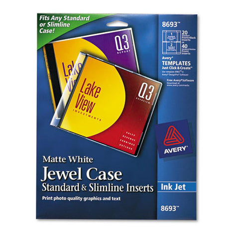 Inkjet Cd-dvd Jewel Case Inserts, Matte White, 20-pack