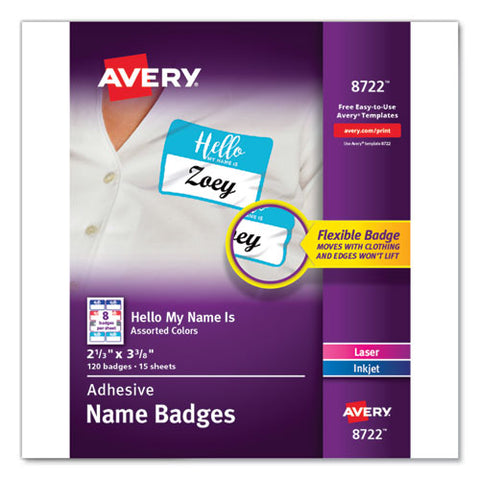 "Flexible Adhesive Name Badge Labels, ""hello"", 3 3-8 X 2 1-3, Assorted, 120-pk"