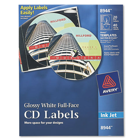 Inkjet Full-face Cd Labels, Glossy White, 20-pack