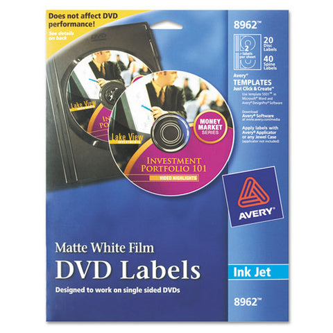 Inkjet Dvd Labels, Matte White, 20-pack