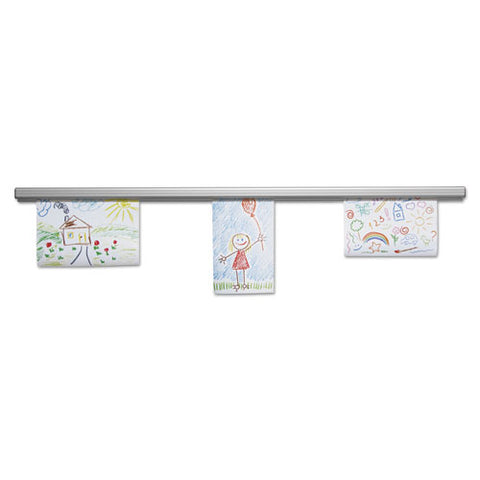 Grip-a-strip Display Rail, 96 X 1 1-2, Aluminum Finish