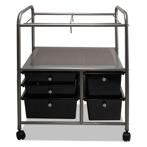 Letter-legal File Cart W-five Storage Drawers, 21.63w X 15.25d X 28.63h, Black