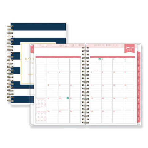 Day Designer Daily-monthly Planner, 8 X 5, Navy-white, 2021