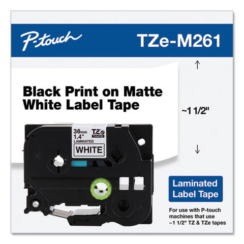 "Tze Standard Adhesive Laminated Labeling Tape, 1.4"" X 26.2 Ft, Black On Matte White"