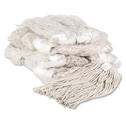 Premium Cut-end Wet Mop Heads, Cotton, 20oz, White, 12-carton