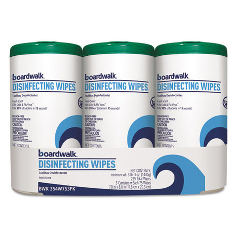 Disinfecting Wipes, 8 X 7, Fresh Scent, 75-canister, 12 Canisters-carton