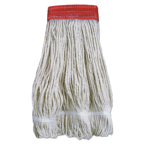 Wideband Looped-end Mop Heads, 20 Oz, Natural W-red Band, 12-carton