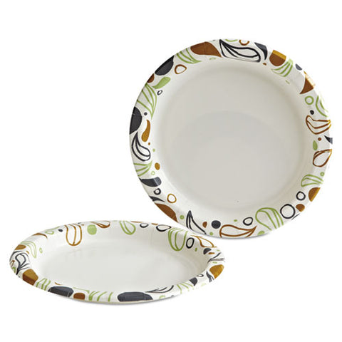 "Deerfield Printed Paper Plates, 9"" Dia,coated-soak Proof 125 Plates-pk, 8 Pks-ct"