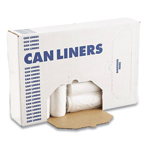 High Density Industrial Can Liners Coreless Rolls, 45 Gal, 13 Microns, 40 X 48, Natural, 10 Rolls Of 25 Bags