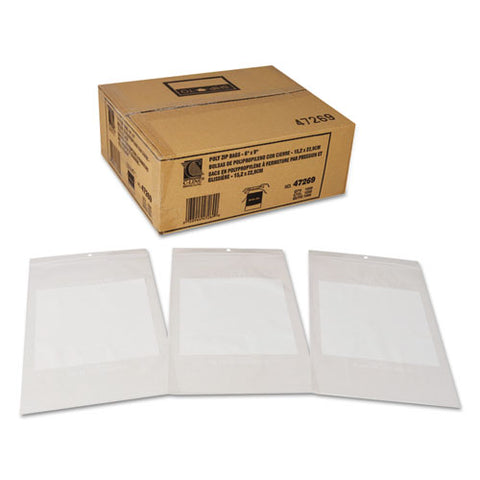 "Write-on Poly Bags, 2 Mil, 6"" X 9"", Clear, 1,000-carton"