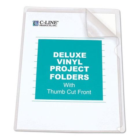 Deluxe Vinyl Project Folders, Letter Size, Clear, 50-box