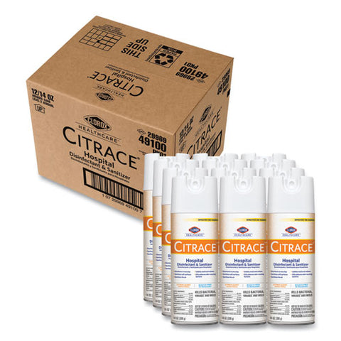 Citrace Hospital Disinfectant And Deodorizer, Citrus, 14 Oz Aerosol Spray, 12-carton