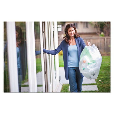 "Recycling Tall Kitchen Drawstring Trash Bags, 13 Gal, 0.9 Mil, 24"" X 27.38"", Clear, 180-carton"