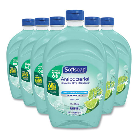 Antibacterial Liquid Hand Soap Refills, Fresh, 50 Oz, Green, 6-carton