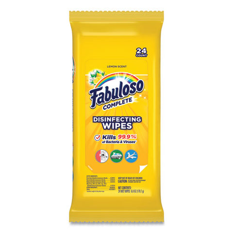 Multi Purpose Wipes, Lemon, 7 X 7, 24-pack, 12 Packs-carton