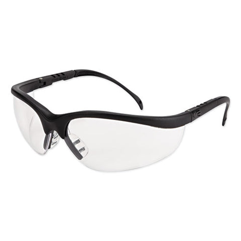 Klondike Safety Glasses, Matte Black Frame, Clear Lens, 12-box