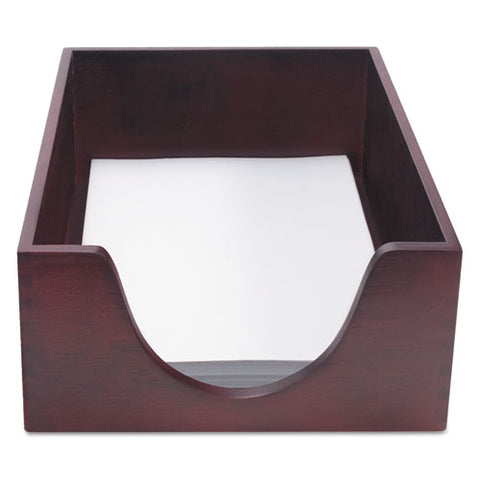 "Double-deep Hardwood Stackable Desk Trays, 1 Section, Letter Size Files, 10.13"" X 12.63"" X 5"", Mahogany"