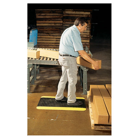 Industrial Deck Plate Anti-fatigue Mat, Vinyl, 24 X 36, Black-yellow Border