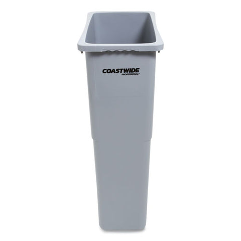 Slim Open Top Trash Can, Plastic, 23 Gal, Gray
