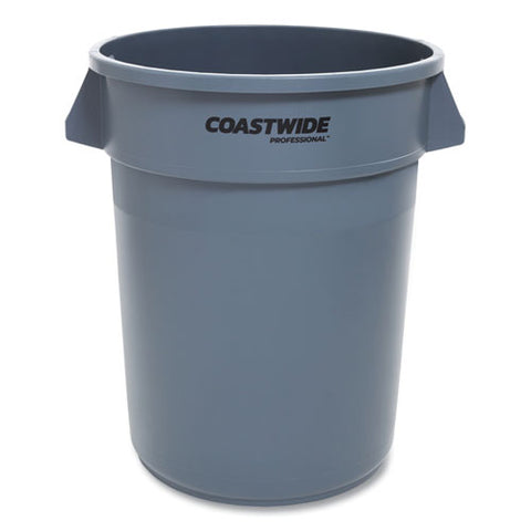 Open Top Round Trash Can, Plastic, 32 Gal, Gray