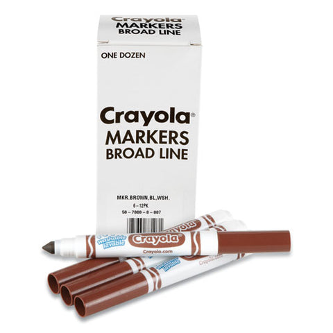 Broad Line Washable Markers, Broad Bullet Tip, Brown, 12-box