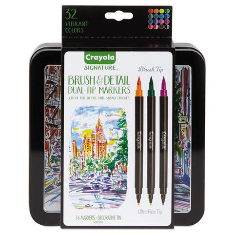 Brush & Detail Dual Ended Markers, Extra-fine Brush-bullet Tip, Assorted Colors, 16-set