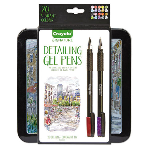 Detailing Stick Gel Pen, Medium 1mm, Assorted Ink, Black Barrel, 20-set