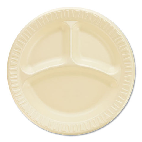 "Quiet Classic Laminated Foam Dinnerware, Compartment Plate, 9"" Diameter, 500-ct"