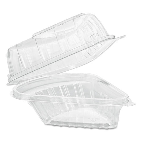 Showtime Clear Hinged Containers, Pie Wedge, 6.67 Oz, 6.1 X 5.6 X 3, Clear, 125-pack, 2 Packs-carton