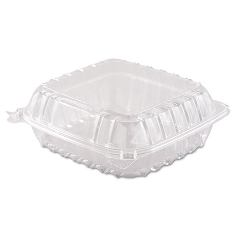 Clearseal Hinged-lid Plastic Containers, 8.3 X 8.3 X 3, Clear, 250-carton