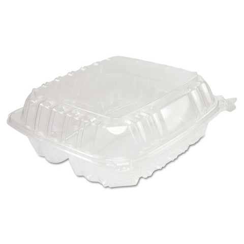 Clearseal Hinged-lid Plastic Containers, 8.25 X 8.25 X 3, Clear, 125-pack, 2 Packs-carton