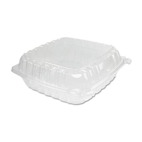 Clearseal Plastic Hinged Container, Large, 9x9-1-2x3, Clear, 100-bag