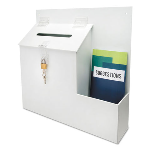 Suggestion Box Literature Holder W-locking Top, 13 3-4 X 3 5-8 X 13, White