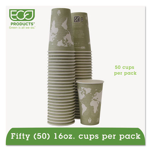 World Art Renewable-compostable Hot Cups, 16 Oz, Moss, 50-pack, 10 Pack-carton