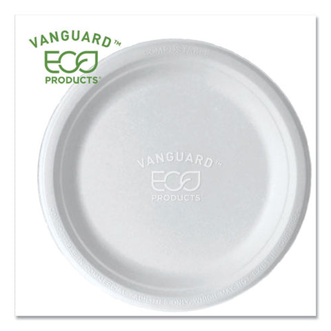 "Vanguard Renewable And Compostable Sugarcane Plates, 9"", White, 500-carton"
