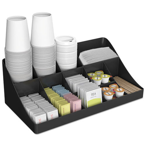 11-compartment Coffee Condiment Organizer, 18 1-4 X 6 5-8 X 9 7-8, Black