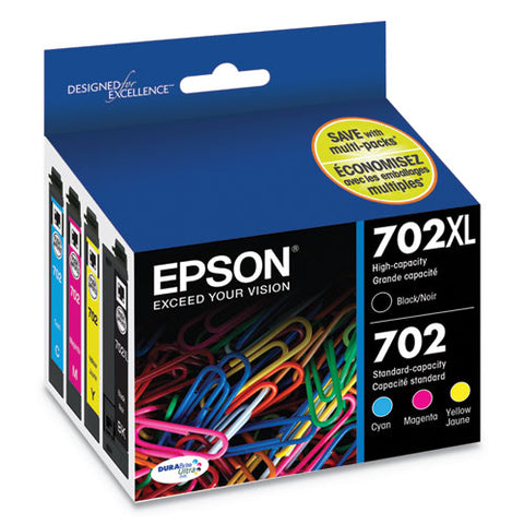 T702xl-bcs (702xl) Durabrite Ultra High-yield Ink, 950-1,100 Page-yield, Black-cyan-magenta-yellow