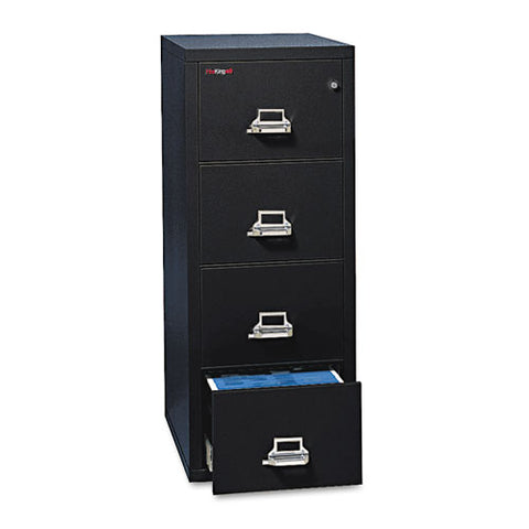 Four-drawer Vertical File, 20.81w X 31.56d X 52.75h, Ul 350 Degree For Fire, Legal, Black
