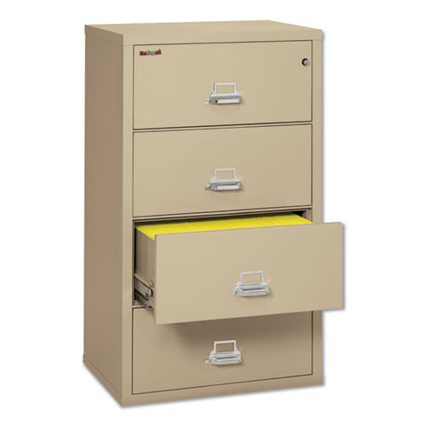 Four-drawer Lateral File, 31.13w X 22.13d X 52.75h, Ul Listed 350 Degree, Letter-legal, Parchment