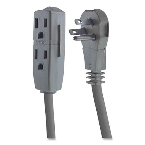 Three Outlet Power Strip, 8 Ft Cord, Gray