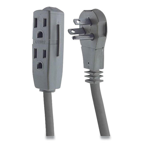 Three Outlet Power Strip, 15 Ft Cord, Gray