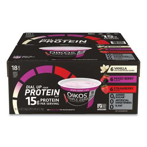 Triple Zero Blended Greek Nonfat Yogurt, 5.3 Oz, Strawberry-mixed Berry-vanilla, 18-box, Free Delivery In 1-4 Business Days