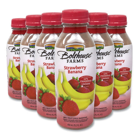 100% Fruit Juice Smoothie, Strawberry Banana, 15.2 Oz Bottle, 6-pack, Free Delivery In 1-4 Business Days