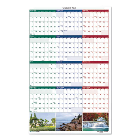 Recycled Earthscapes Nature Scene Reversible Yearly Wall Calendar, 32 X 48, 2021