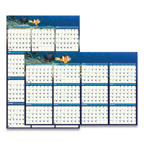 Recycled Earthscapes Sea Life Scenes Reversible Wall Calendar, 24 X 37, 2021