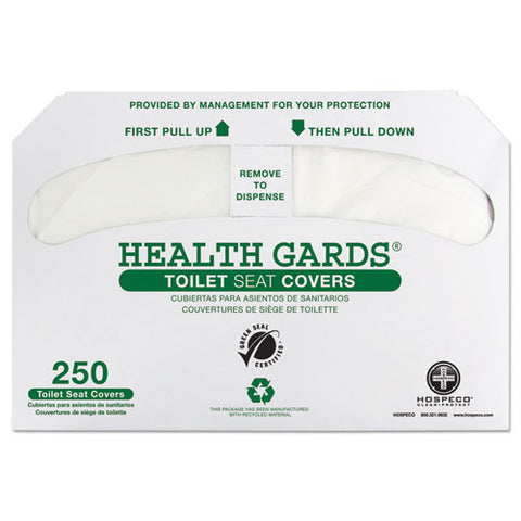 Health Gards Green Seal Recycled Toilet Seat Covers, 14.75 X 16.5, White, 250-pack, 4 Packs-carton